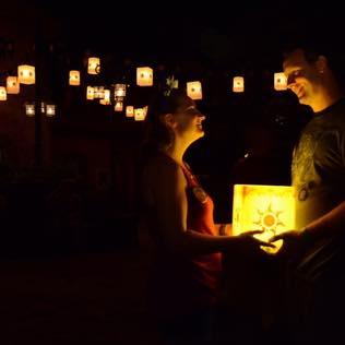 Meggan and her husband celebrating their anniversary on their    Walt Disney World®    Vacation