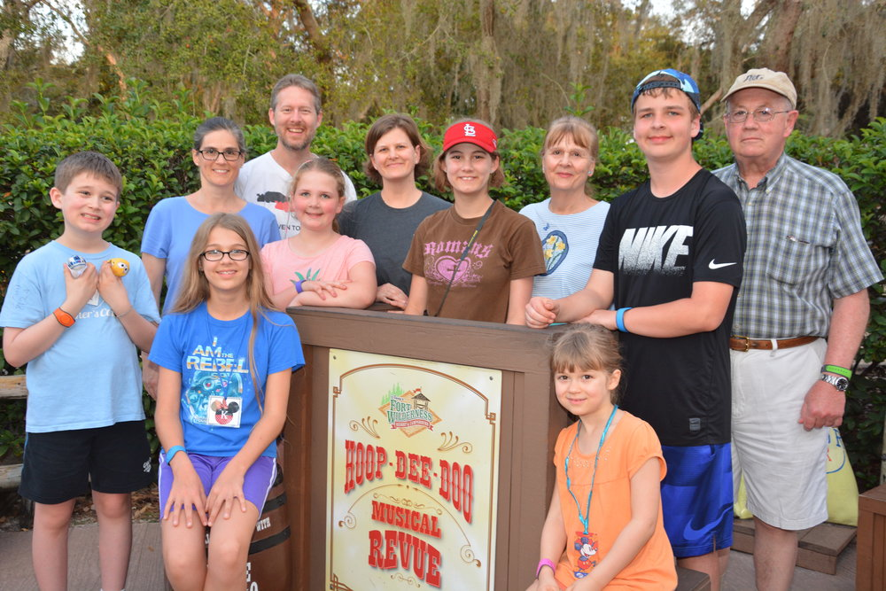 Jett, Jalyn, and their families before visiting the longest-running dinner show in the country, the Hoop-Dee-Doo Musical Revue at   Disney's Fort Wilderness Resort   & Campground.
