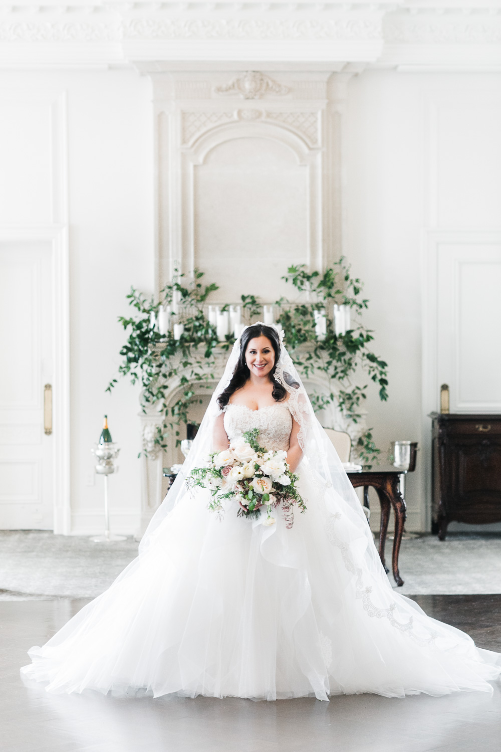 Bride at her elegant Park Chateau Wedding in New Jersey.  Blushed Design: Wedding Invitations and Fine Art Portraits