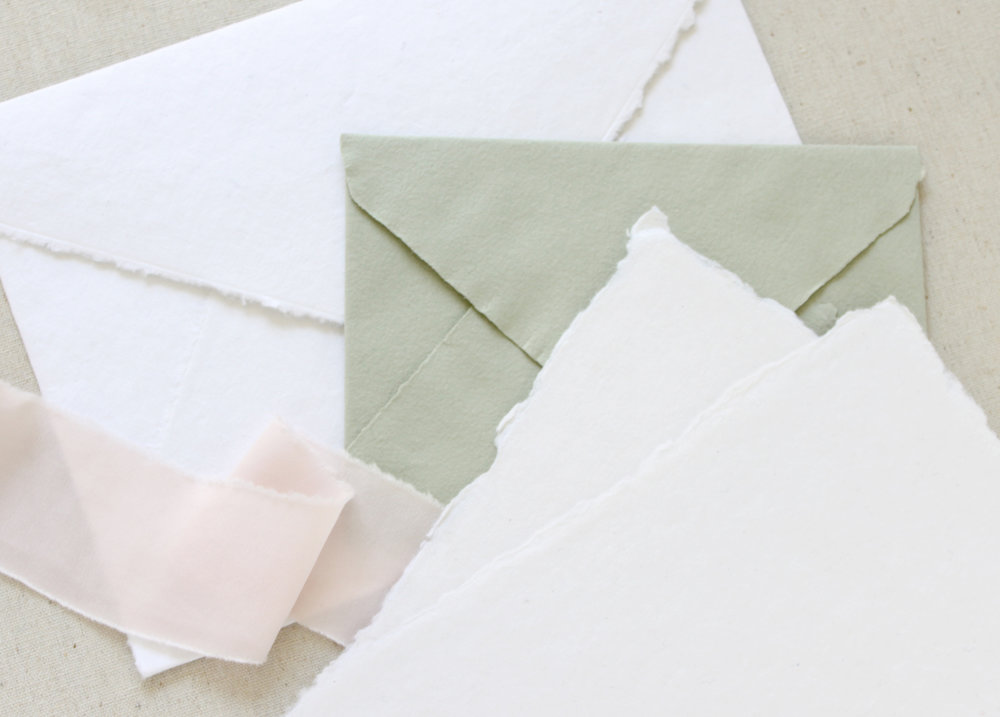 Handmade paper for wedding invitations.  What kind of paper to use for your wedding, the pros and cons of each and the printing methods that are recommended in this handy little guide.  Blushed Design, Wedding Invitations & Fine Art Portraits