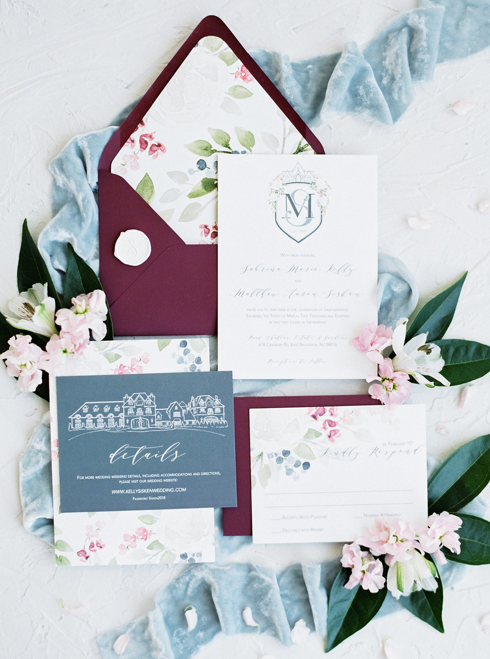 Winter Park Chateau Wedding in New Jersey.  Wedding Stationery and Monogram Crest by Blushed Design || Wedding Invitations and Fine Art Portraits