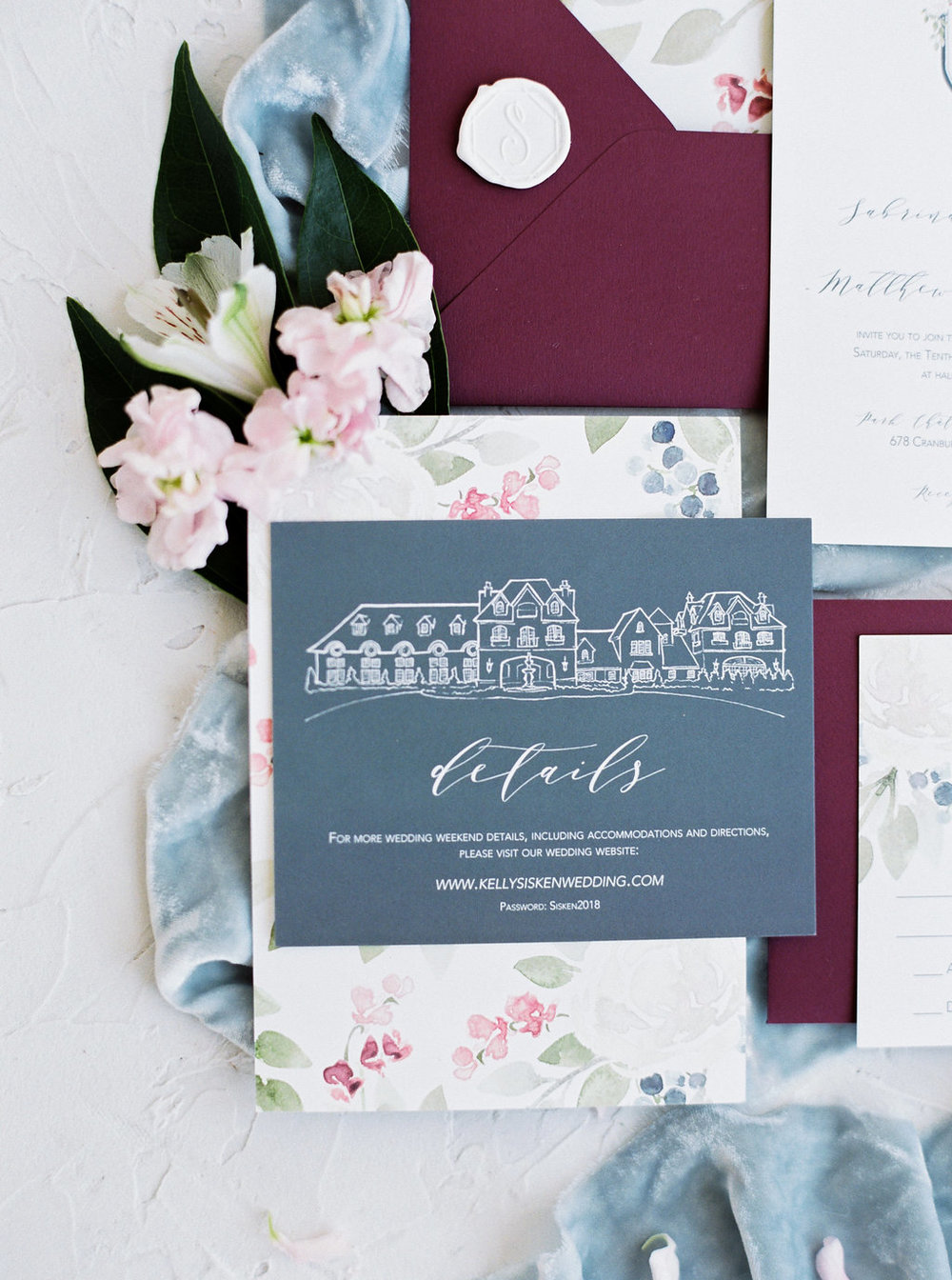 Park Chateau Wedding in New Jersey.  Watercolor details and wedding venue illustration on burgundy and slate blue wedding invitations || Blushed Design, Wedding Invitations and Fine Art Portraits