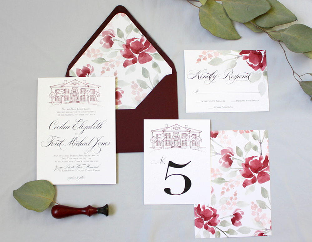Grosse Pointe War Memorial in Michigan - Beautiful venue for a Midwest Michigan Wedding.  Invitations featuring a venue illustration and a watercolor flower envelopes liner ||  Blushed Design: Wedding invitations and Fine Art Portraits