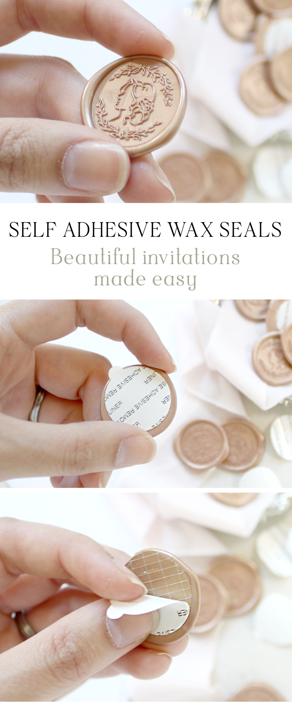 Self Adhesive Wax Seals--The easiest way to incorporate beautiful wax seals into your every day life.  Blushed Design, Wedding Invitations and Fine Art Portraits