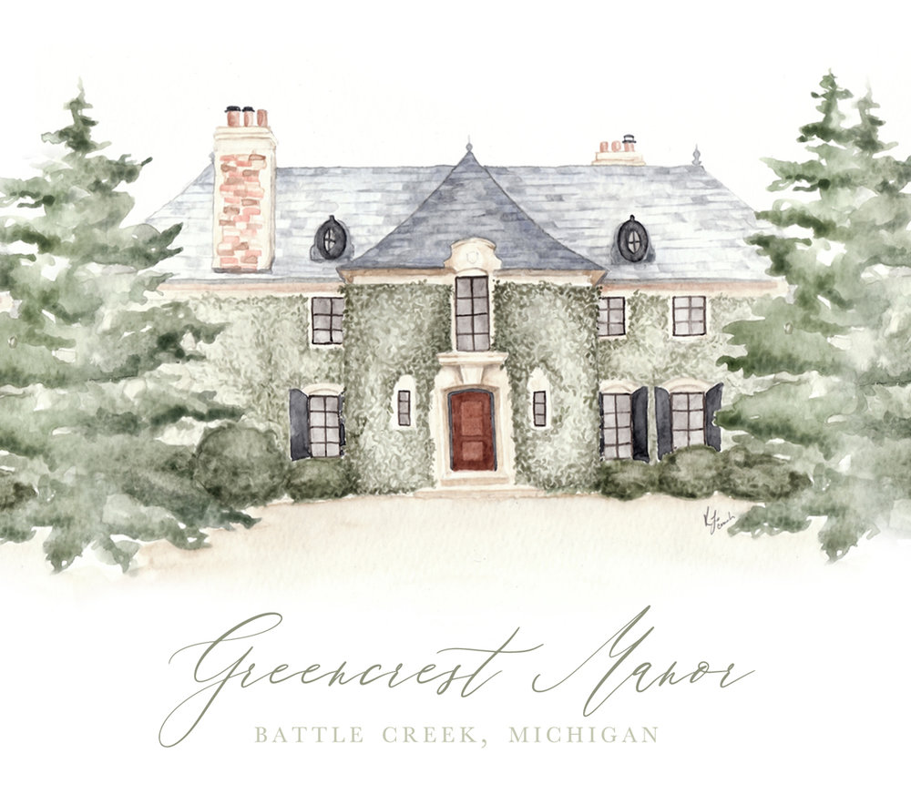 Greencrest Manor, bed and breakfast and wedding venue in Battlecreek Michigan.  Venue Illustration by Katrina Crouch of Blushed Design: Wedding Invitaitons and Fine Art Portraits.