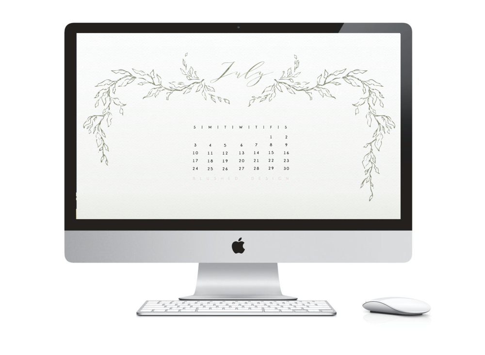 July 2018 Desktop Calendar - Free instant download by Katrina Crouch of Blushed Design: Wedding Invitaitons and FIne Art Portraits