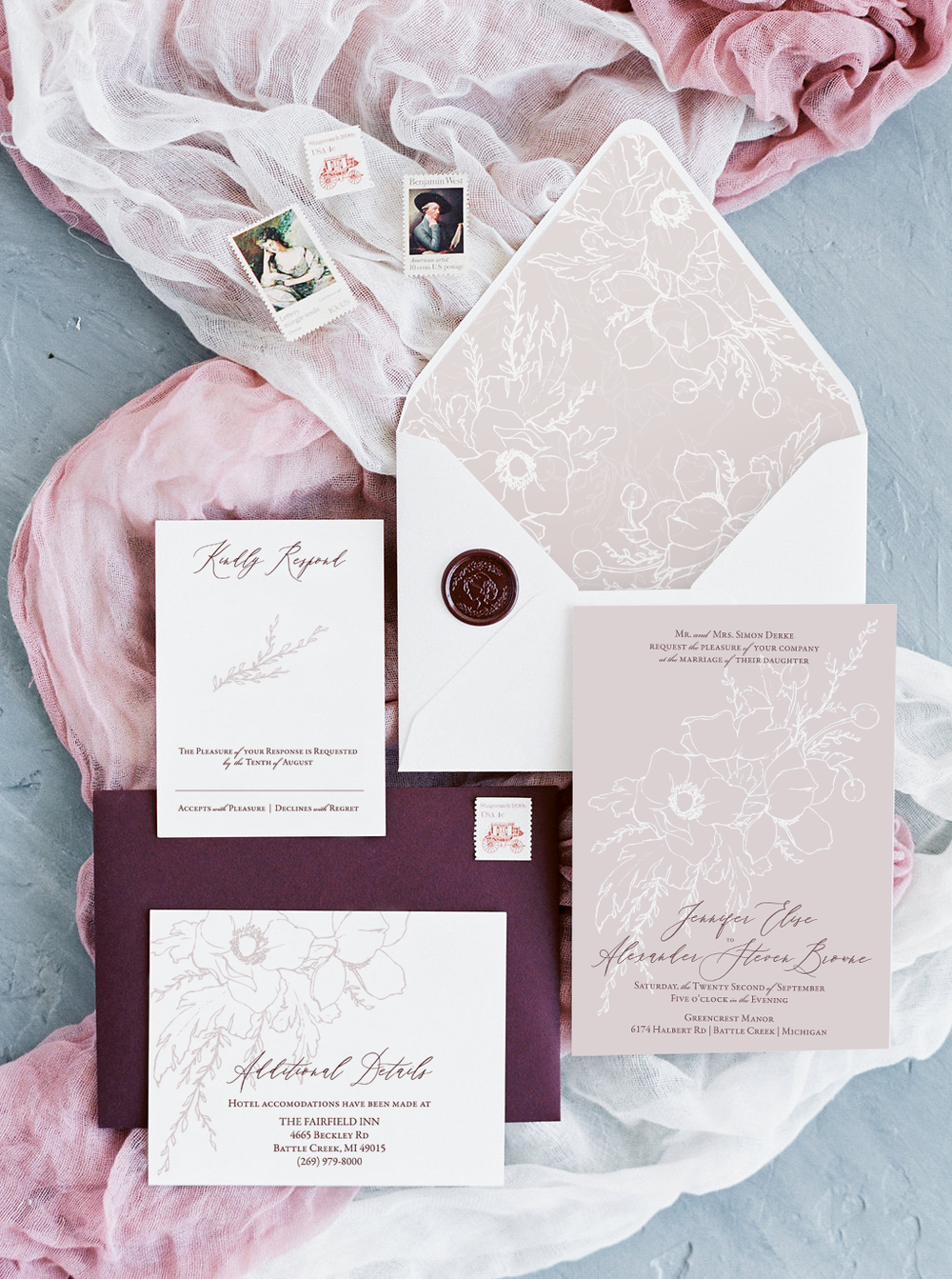 Modern floral wedding invitations in a beautiful blush color with burgundy envelopes and a custom wax seal.  Sketchy floral illustration by Katrina of Blushed Design, Wedding INvitations and Fine Art Portraits