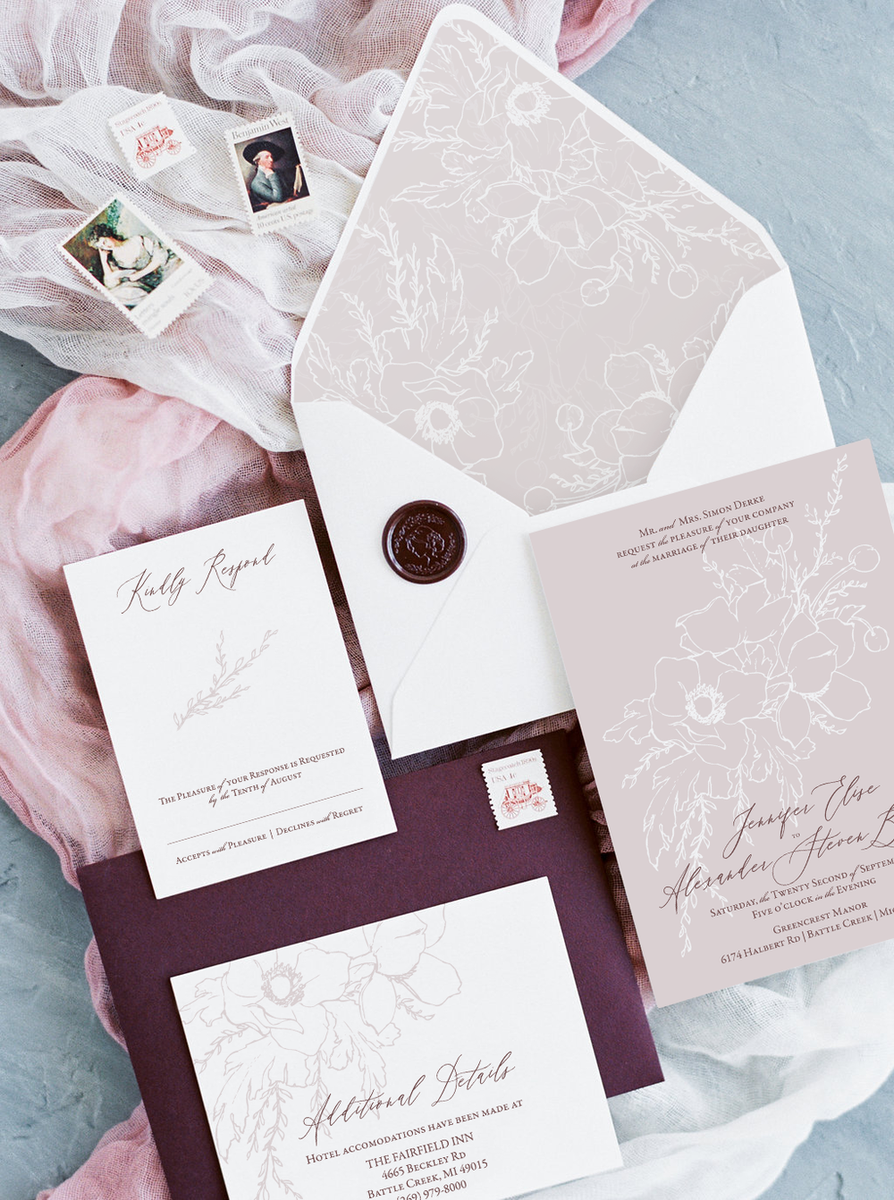 Modern Wedding Invitations with a delicate floral line drawing.  Fine Art Wedding Invitations by Katrina of Blushed Design
