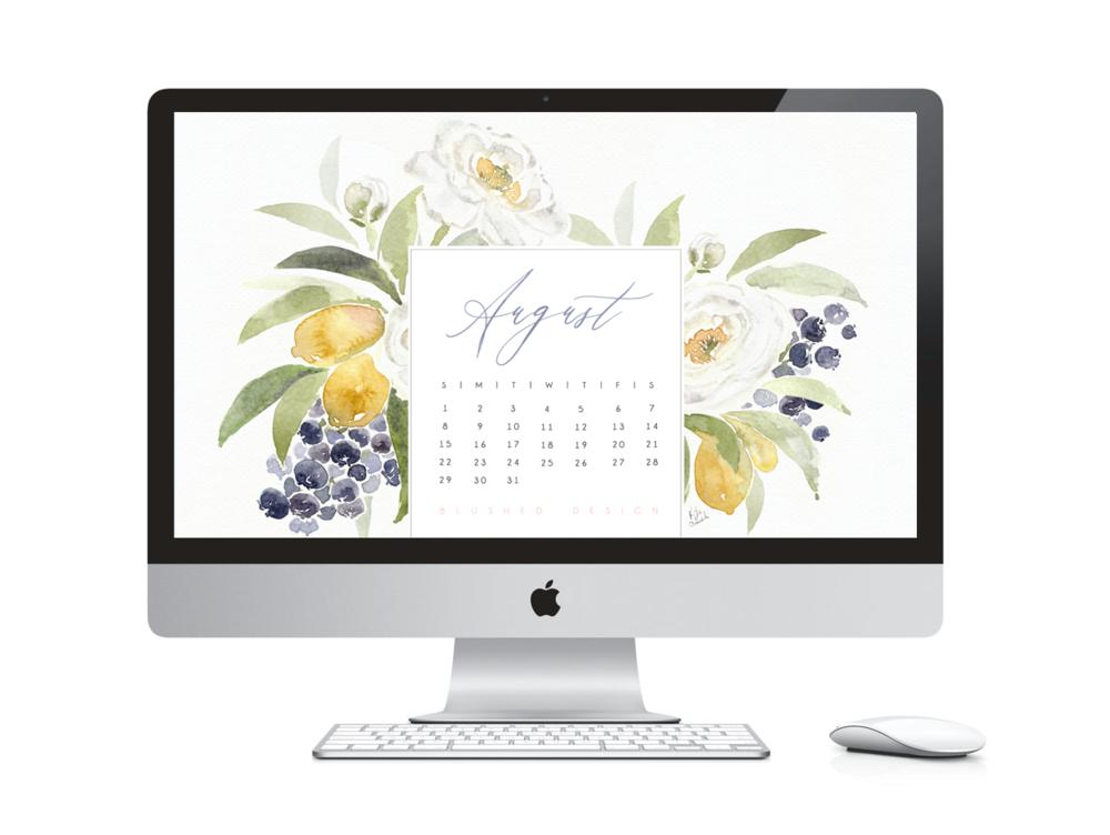 August Desktop Calendar - Watercolor flower desktop calendar 2018 - Free desktop calendar download