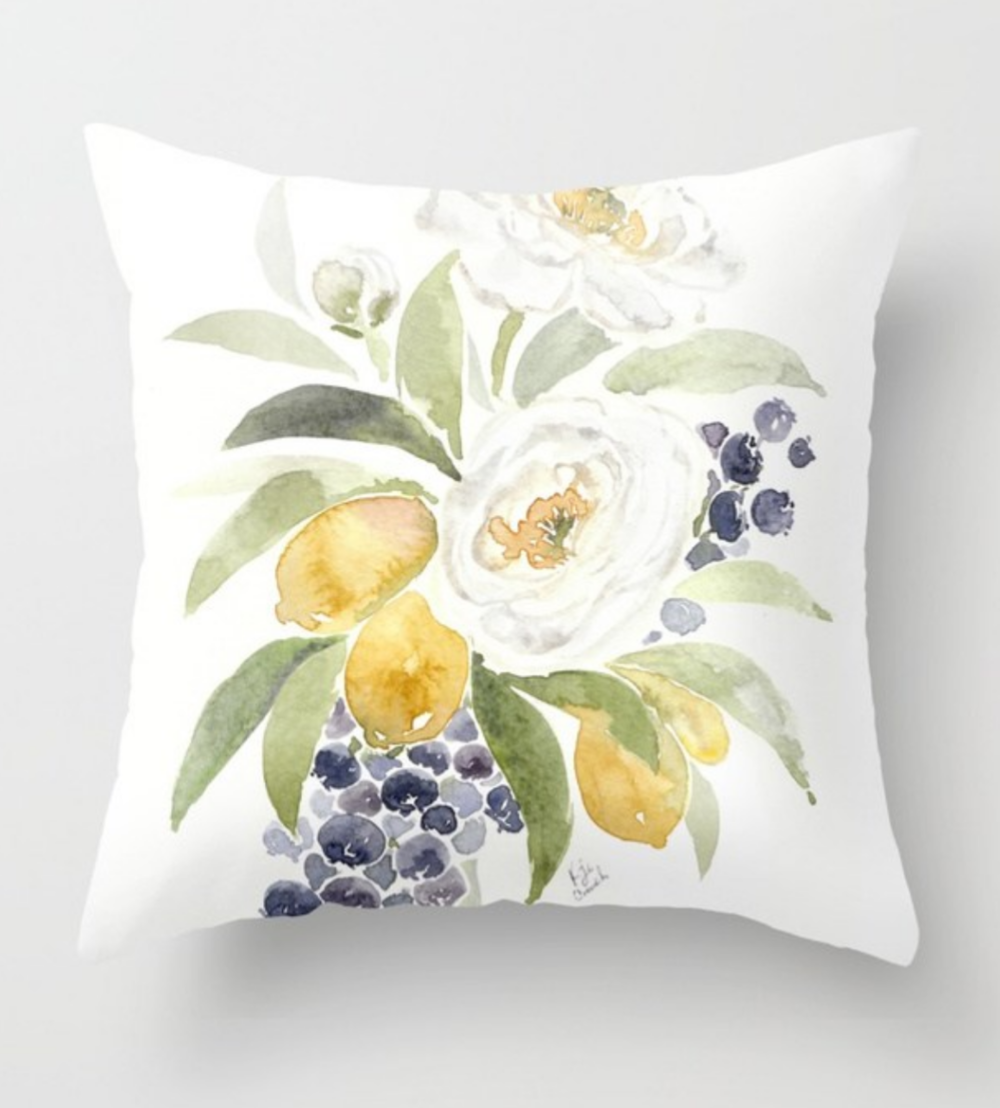 Watercolor flower throw pillow.  Perfect for bright home decor, this lemon, blueberry and ranuculous watercolor pattern is the perfect addition to your summer home decor