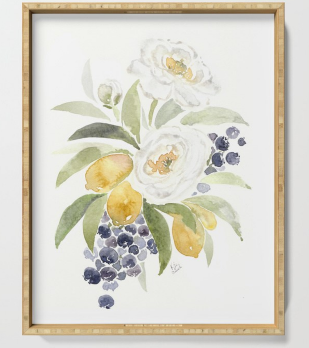 Watercolor flowers in a beautiful wooden frame - can also be used as a unique watercolor flower serving tray.