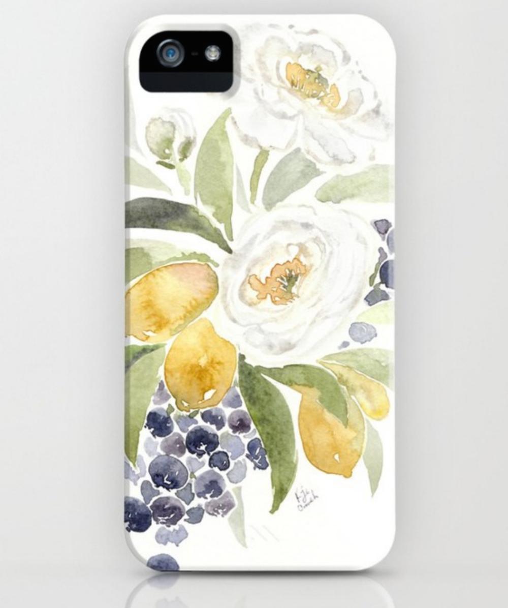 White ranuculous watercolor phone case.  Watercolor lemons, ranuculous and blueberries decorates this unique phone case