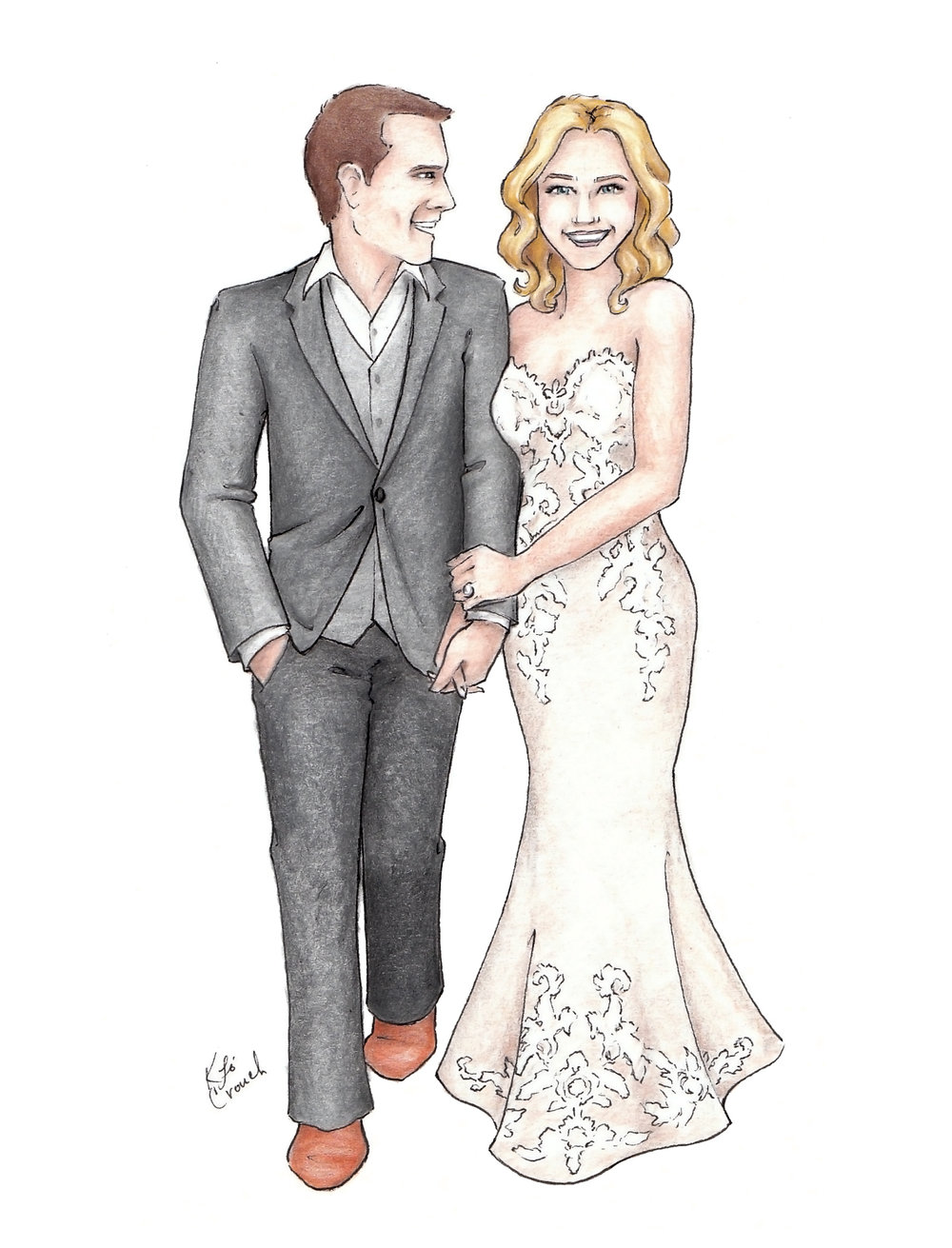 Custom watercolor bridal portrait. Fine art bride and groom portrait for a unique anniversary gift. #customportrait #portraitillustration #blusheddesign #watercolorportrait
