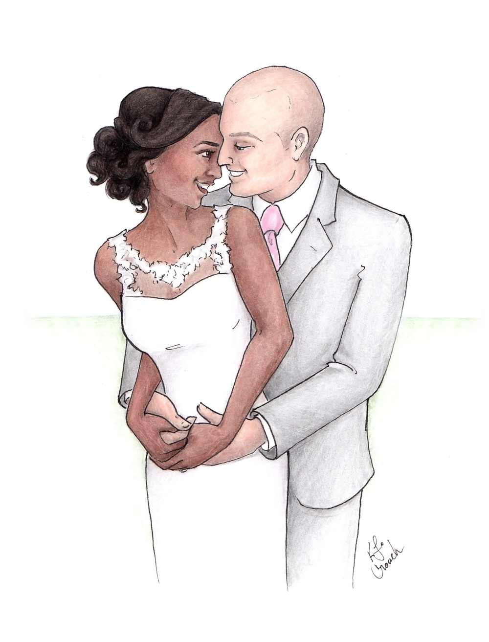 Custom watercolor bridal portrait. Fine art bridal portrait for a unique anniversary gift. #customportrait #portraitillustration #blusheddesign #watercolorportrait