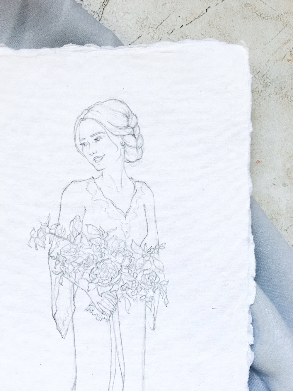 Custom bridal portrait sketch. Fine art bridal portrait on handmade paper. #customportrait #portraitillustration #blusheddesign #portraitsketch