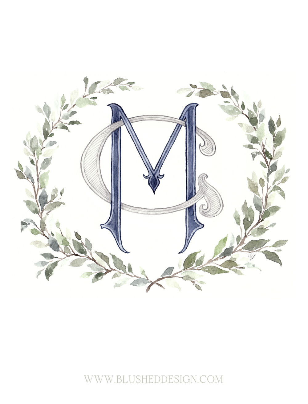 Custom watercolor monogram surrounded by a beautiful greenery wreath.  A beautiful addition to your wedding details, this custom monogram represents both the couple as individuals as well as their new family unit together.  Blushed Design: Wedding INvitations and Fine Art Portraits. #custommonogram #watercolorcrest #greenerywreath #watercolormonogramwreath