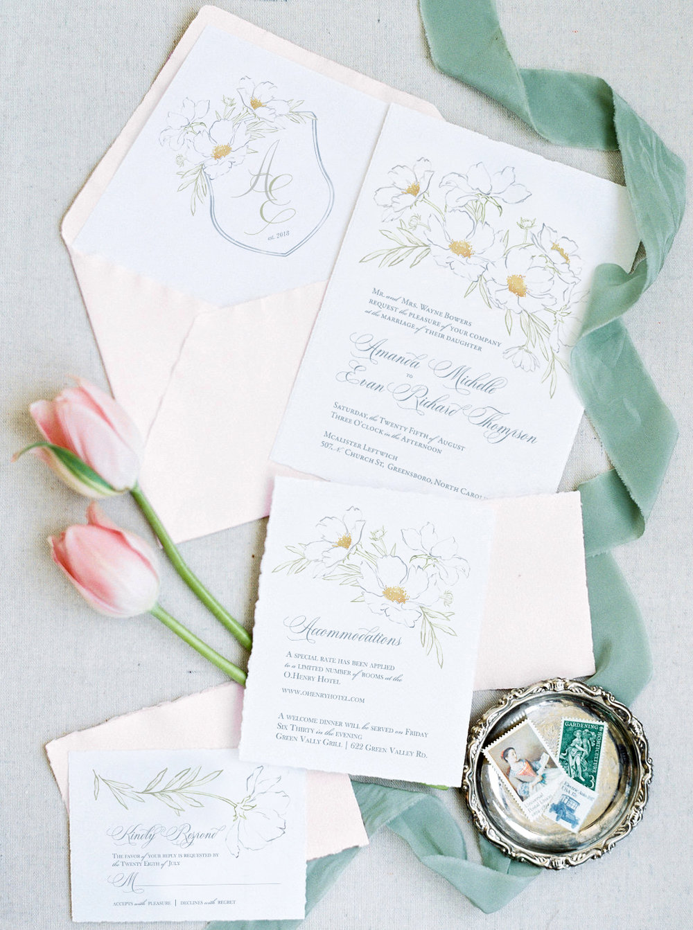 Fine art wedding invitations inspired by the McAlister Leftwich house, featuring a modern style text layout and wild peony blossoms.  A watercolor crest is featured on the envelope liner and vintage stamps complete the look! Created by Blushed Design #fineartwedding #fineartweddinginspiration #mcalisterleftwich #watercolorcrest
