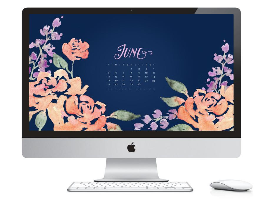 June 2016 desktop calendar.  Watercolor flower calendar design by Katrina of Blushed Design