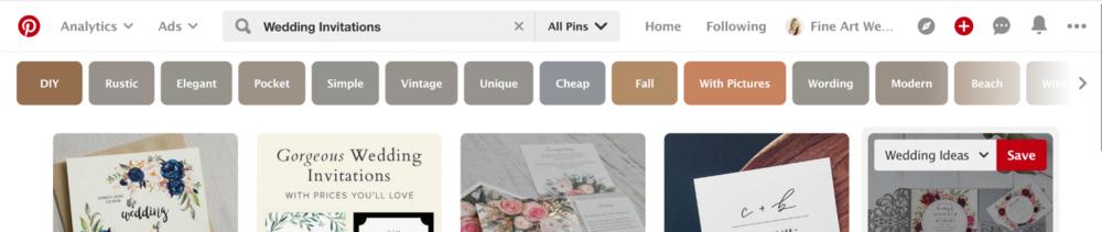 Finding your keyword phrases on Pinterest.  Blushed Design