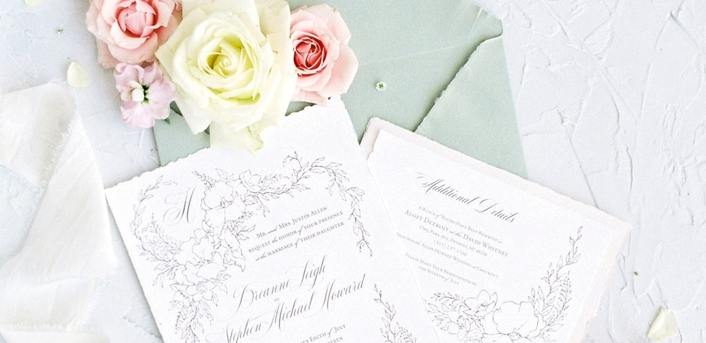 Custom Wedding Invitations - Fine art inspired design with a fresh twist