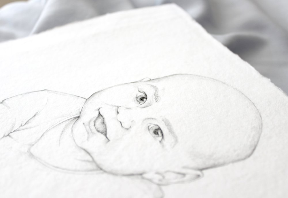 Custom baby portrait on handmade paper featuring baby Otto!  Pencil illustration by Katrina of Blushed Design: Fine art inspired design with a fresh twist
