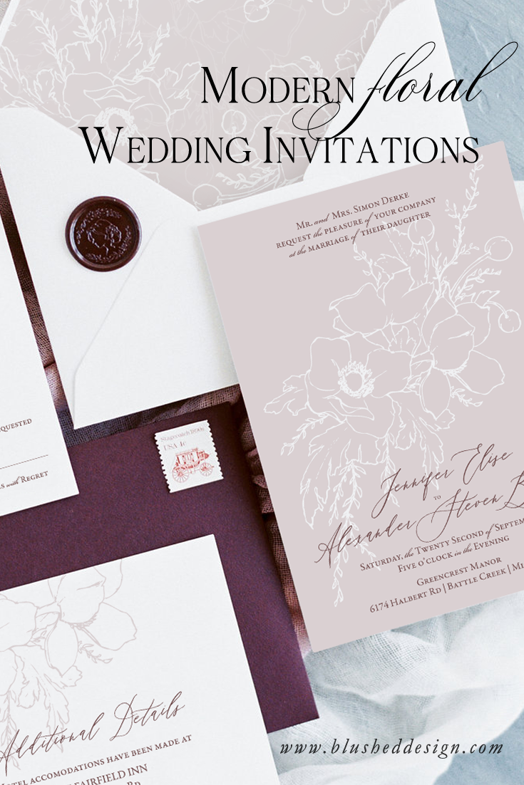 Floral wedding invitations with a clean and modern twist.  Invitation designs by Katrina of Blushed Design: Fine art inspired desig with a fresh twist #fineartwedding #weddinginvitations #floralinvitations