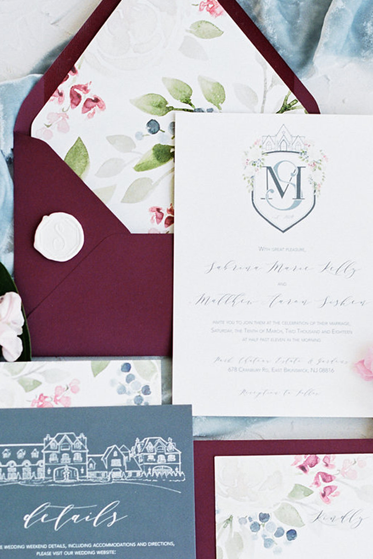 How to choose an envelope liner for your wedding invitations.  Tips and tricks from fine art stationer, Katrina of Blushed Design.  #weddinginvitations #envelopeliners #watercolorenvelopeliner