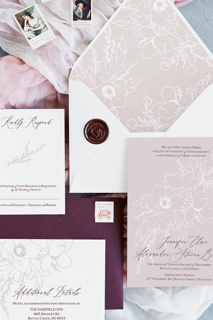 How to choose an envelope liner for your wedding invitations.  Tips and tricks from fine art stationer, Katrina of Blushed Design.  #weddinginvitations #envelopeliners #fineartwedding
