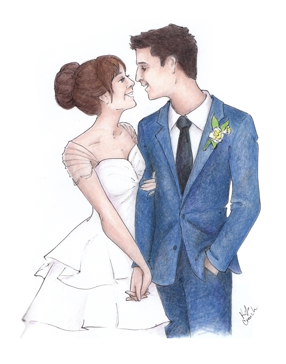 This playful bridal portrait is the perfect anniversary gift for the fun loving couple! Hand illustrated by Katrina of Blushed Design, this colored pencil or watercolor portrait will be a treasure for your family to hold for years to come #customportrait #bridalportrait #watercolorportrait