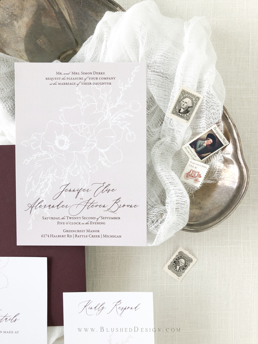 Modern blush wedding invitations  with beautiful vintage inspired postage stamps