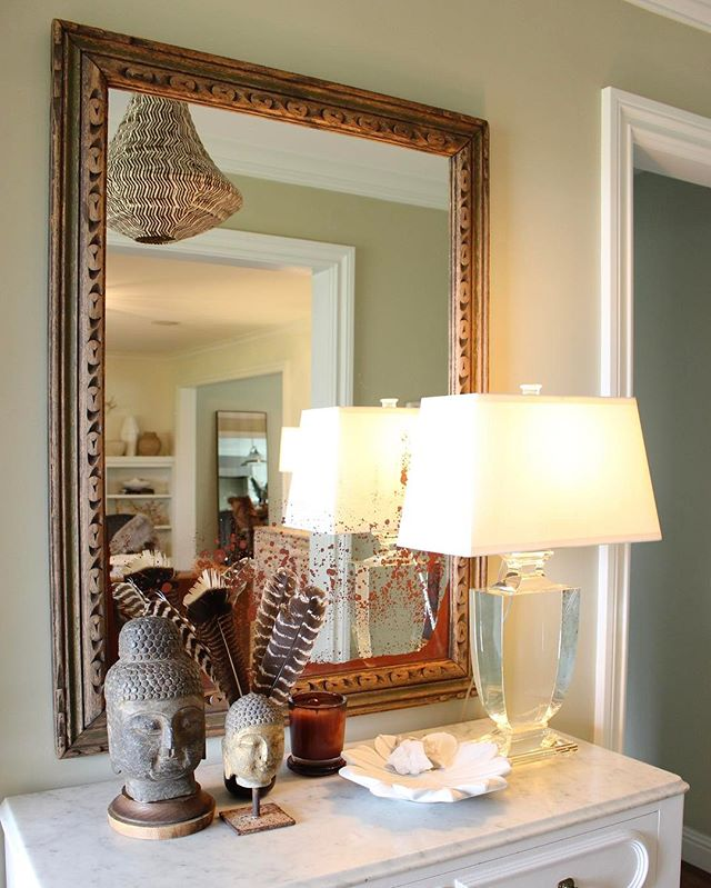 Putting a mirror in your entry way is a great way to open up a small space. Mirrors reflect natural light and allow you to see yourself before you walk out the door...a functionality must!  #DesignTips #BrightenYourDay or #Entryway #WelcomeHome #FirstImpressions #Vintage #MirrorMirrorOnTheWall #ReflectTheLight #InteriorDesign #HomeDesign #FilthyGorgeous #FilthyGorgeousHome