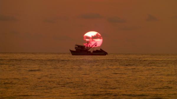 Sunset off a nearby beach
