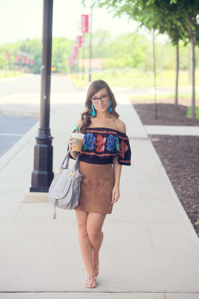 See how fashion blogger Little Tree Vintage styles this suede mini skirt and off the shoulder top for Summer.