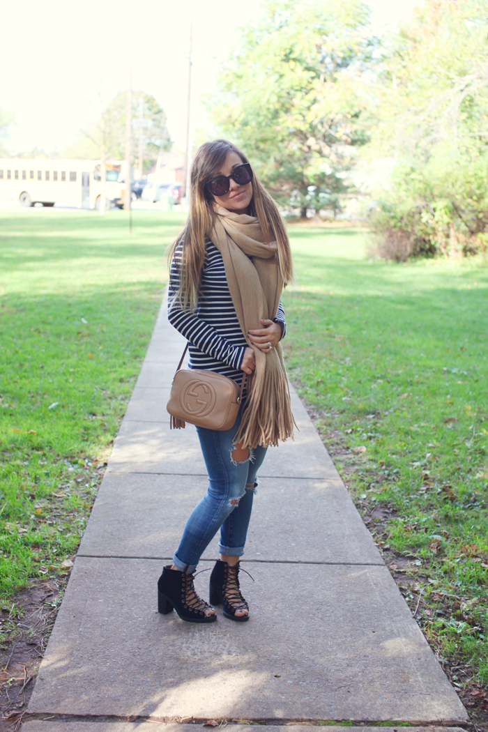Check how to style a cozy scarf, lace up booties,and turtleneck with fashion, lifestyle, and beauty blogger Little Tree Vintage.