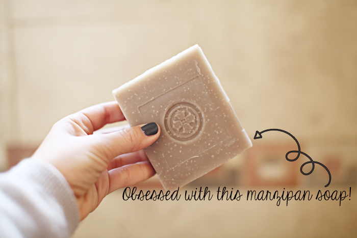 Fashion, lifestyle, and beauty blogger Little Tree vintage shares her All Natural Skin Care Routine including this all natural marzipan soap.