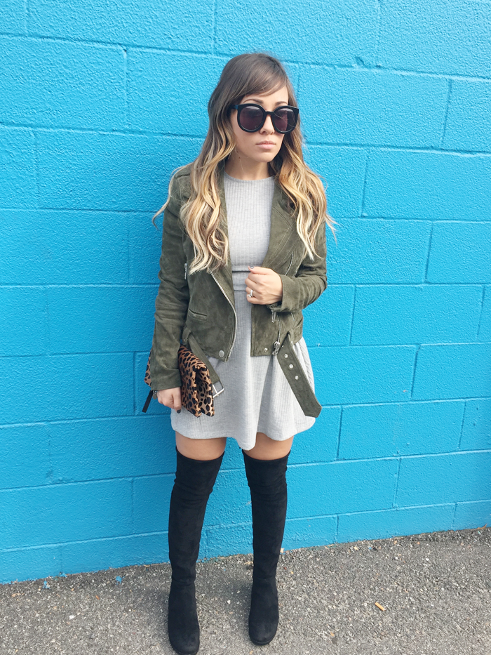 See how to style an olive moto jacket and strappy dress with fashion blogger, Little Tree Vintage.