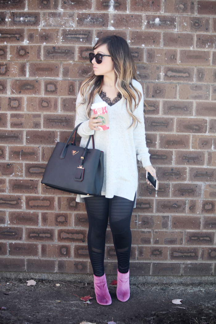Mauve velvet booties, moto leggings, and a lace top for the cooler months.