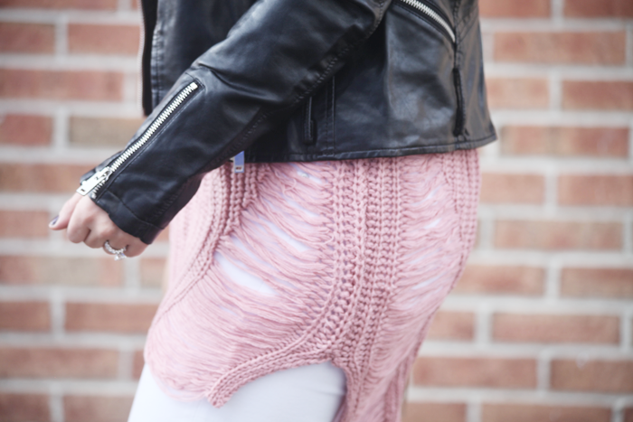 Distressed cozy sweater & moto jacket for Winter.
