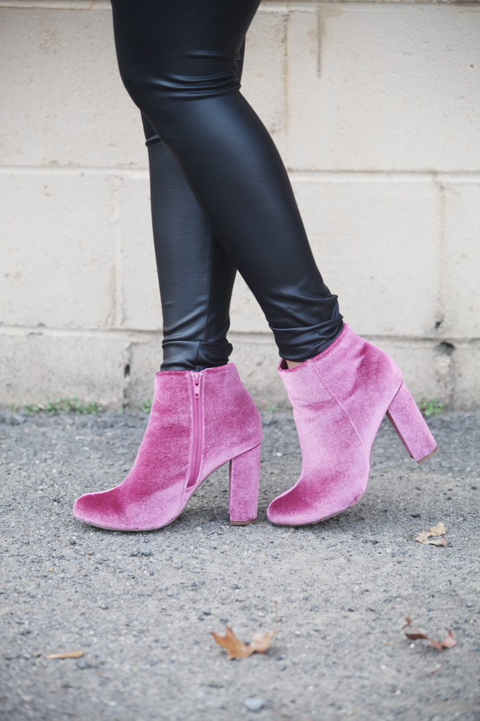 Fashion blogger Little Tree Vintage styles this suede moto jacket for Winter with faux leather leggings and mauve booties.