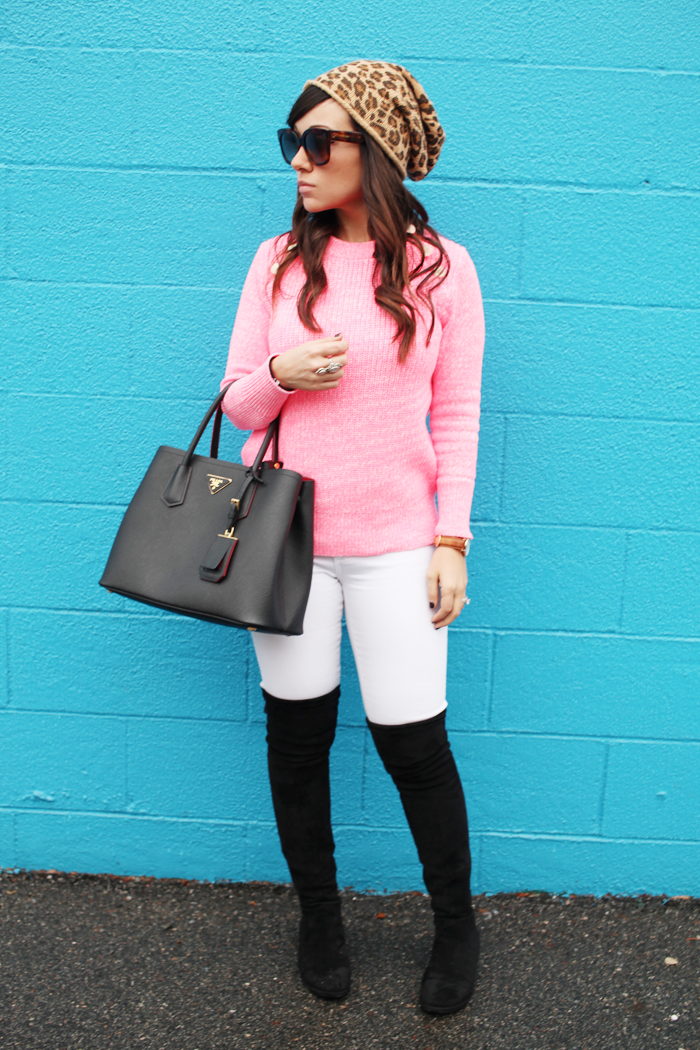 Fashion, lifestyle, and beauty blogger Little Tree Vintage to shows us how to add color and white denim to a winter wardrobe.