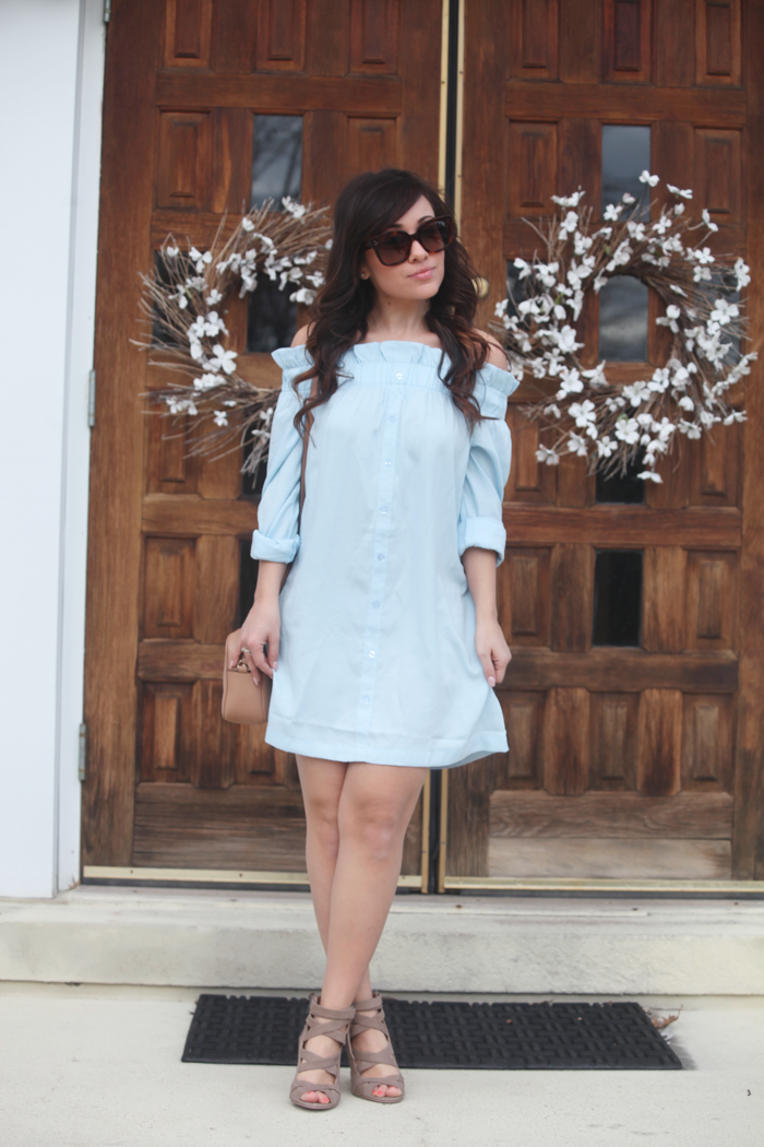 See how to style this gorgeous off the shoulder dress and heels for Spring with fashion, lifestyle, and beauty blogger Little Tree Vintage.