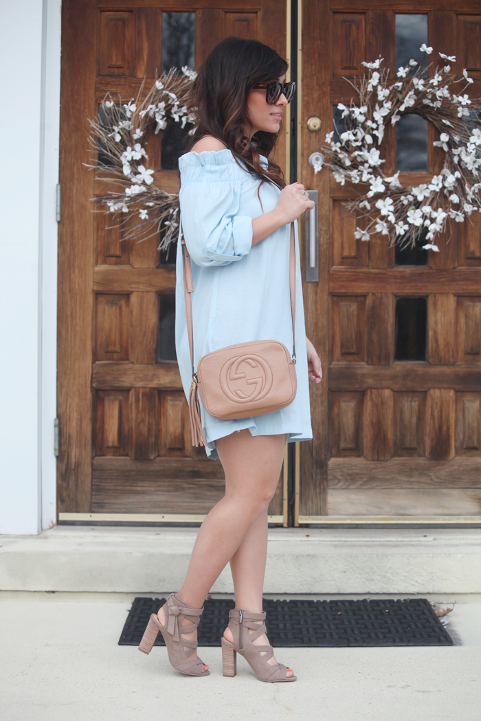 Styling this gorgeous off the shoulder dress for Spring!