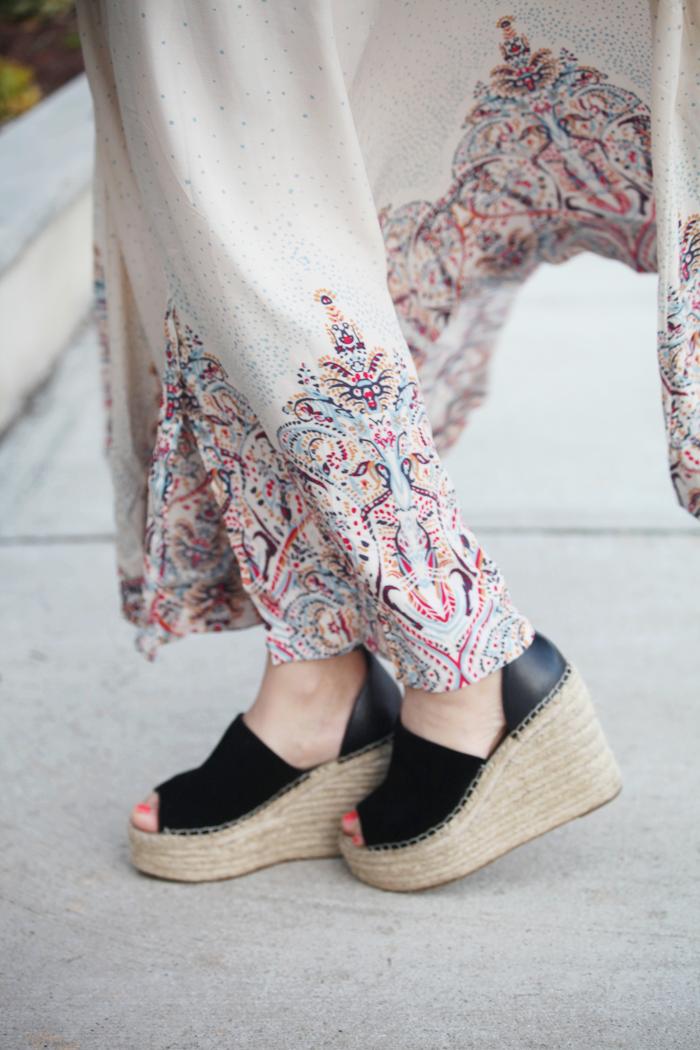 Adding espadrilles to a boho dress for on trend Spring fashion.