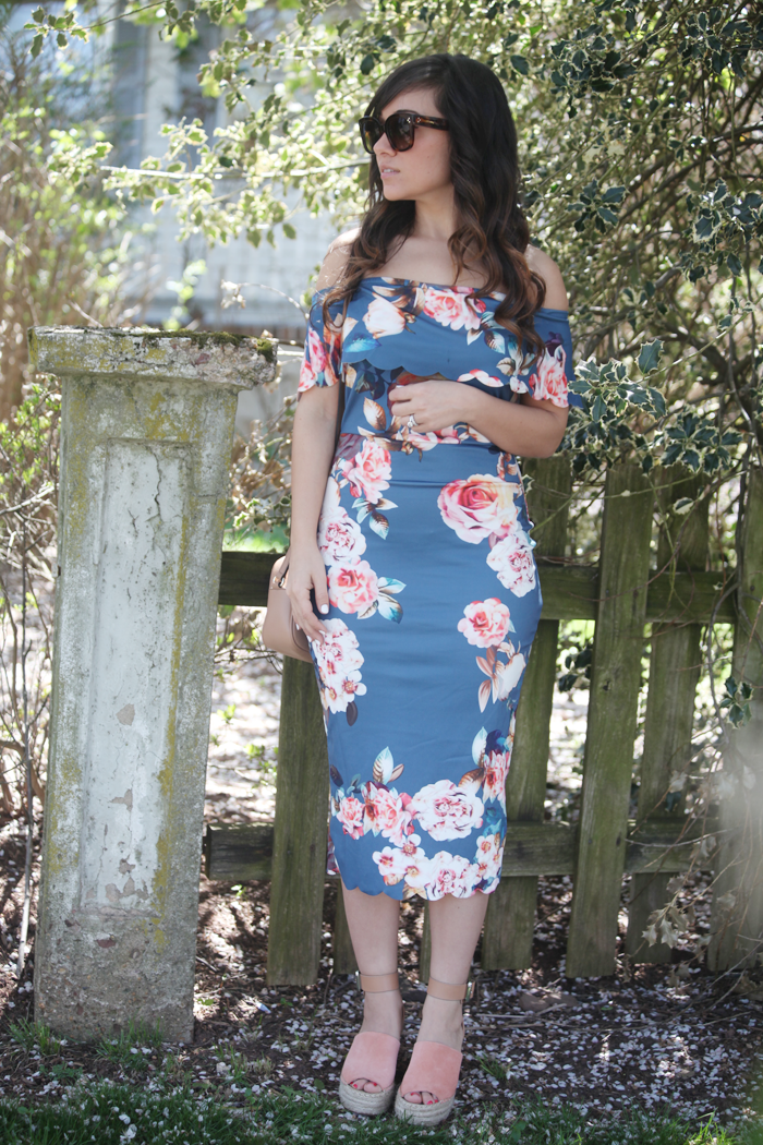 Fashion, lifestyle, and beauty blogger Little Tree Vintage styles a scalloped off the shoulder dress for Spring.