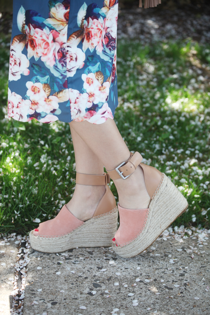 Fashion, lifestyle, and beauty blogger Little Tree Vintage styles a scalloped off the shoulder dress for Spring with espadrilles.