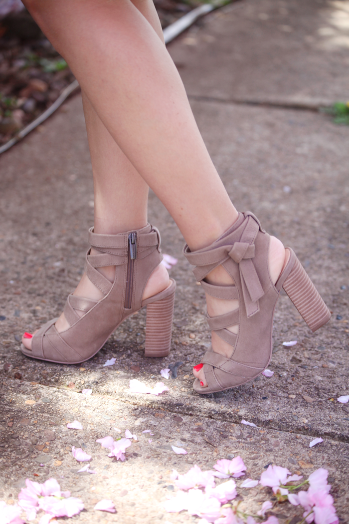 Check out how fashion, lifestyle, and beauty blogger Little Tree Vintage styles a gorgeous pink dress for Spring including cute booties.