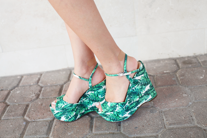 Palm print espadrilles styled for Summer by fashion blogger Little Tree Vintage.