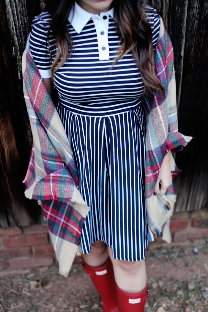 Adding a plaid poncho will help you transition a dress into Fall!