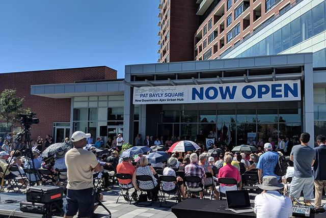 #live from @townofajax for the Grand Opening of Pat Bayley Square