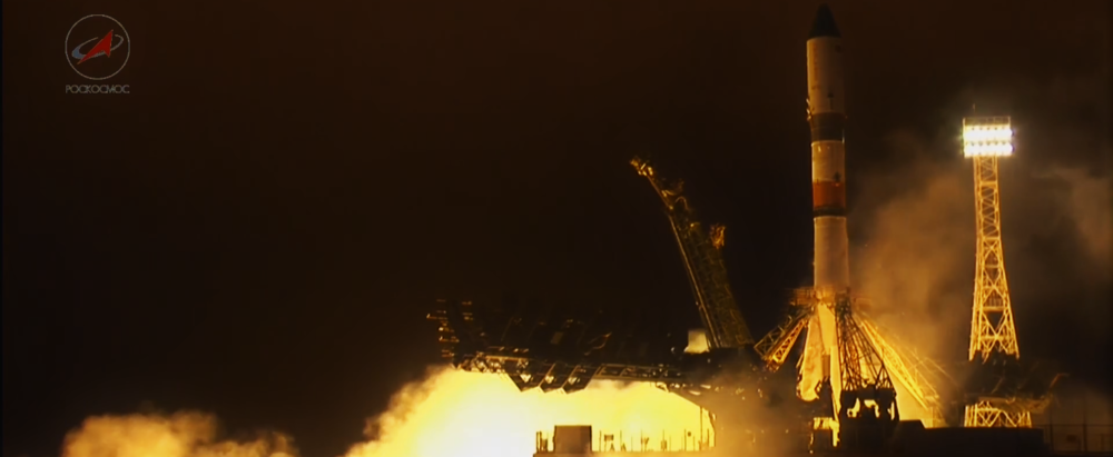 Progress MS-2 lifts off the pad at Baikonur Cosmodrome in Kazakhstan. Photo Credit: NASA TV